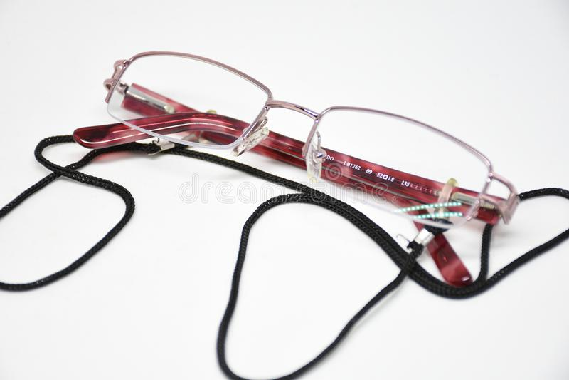 Oval reading glasses cutout. Goggles spectacle eye white vision eyeglass eyesight lens glasses object optical fashion medicals royalty free stock image