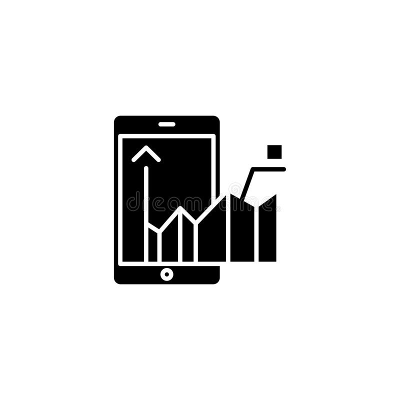On-going analysis black icon concept. On-going analysis flat vector symbol, sign, illustration. stock illustration