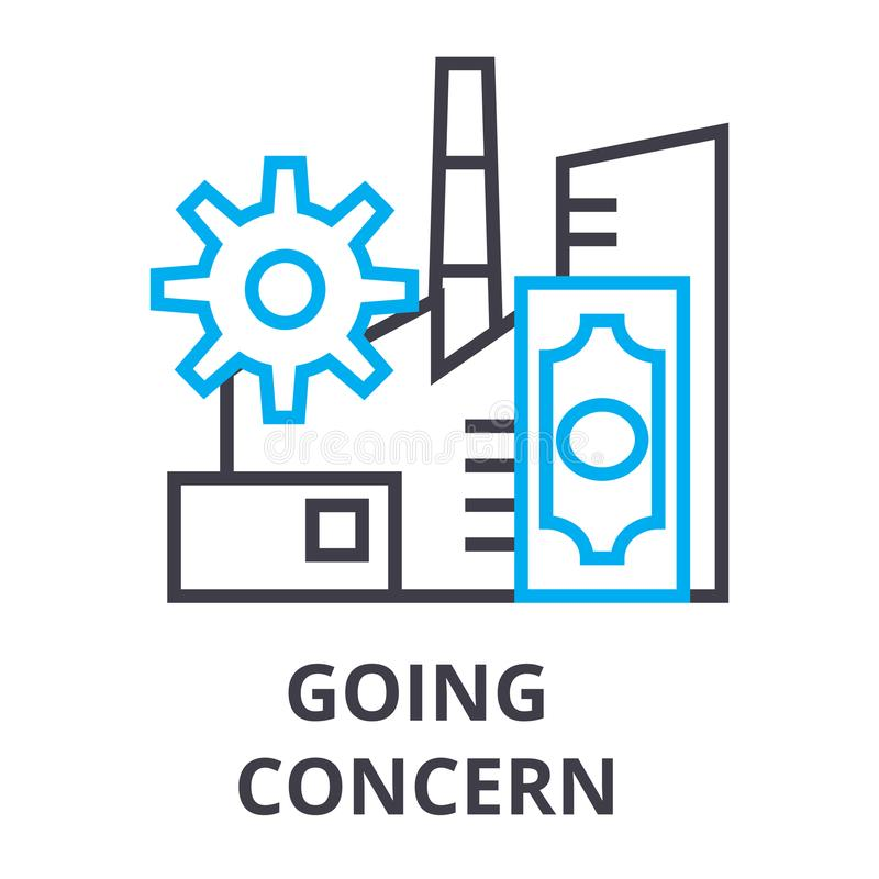Going concern thin line icon, sign, symbol, illustation, linear concept, vector. Going concern thin line icon, sign, symbol, illustation, linear concept vector vector illustration