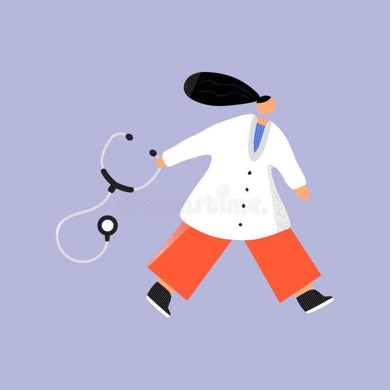 Going doctor with stethoscope hand drawn color illustration. vector illustration