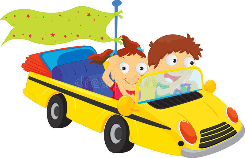 Going for a drive. An illustration two people going for a drive vector illustration