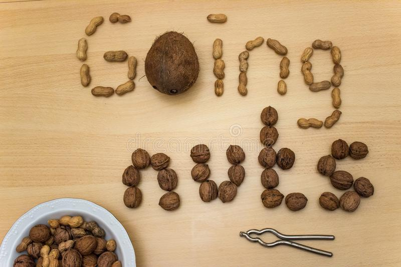 `Going nuts` with peanuts, walnuts, coconut, nut cracker and plate. Phrase `Going nuts` with peanuts, walnuts, coconut, nut cracker and a heap of nuts on a white royalty free stock photos