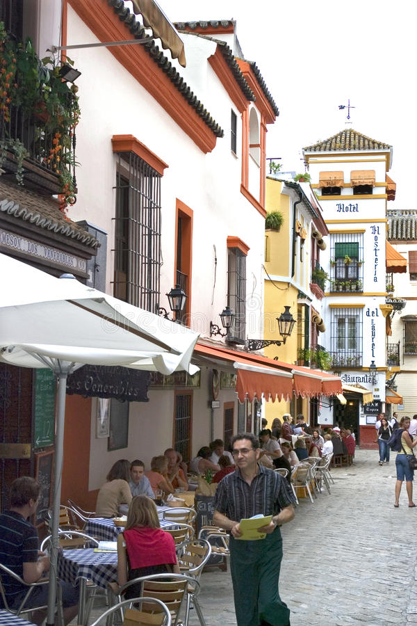 Going out in alleys historic center Seville, Spain stock image