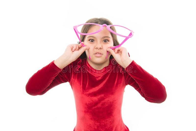 Going on party. little girl child with party glasses isolated on white. small pretty girl with happy face. beauty and. Fashion. skincare and kid hairdresser stock images