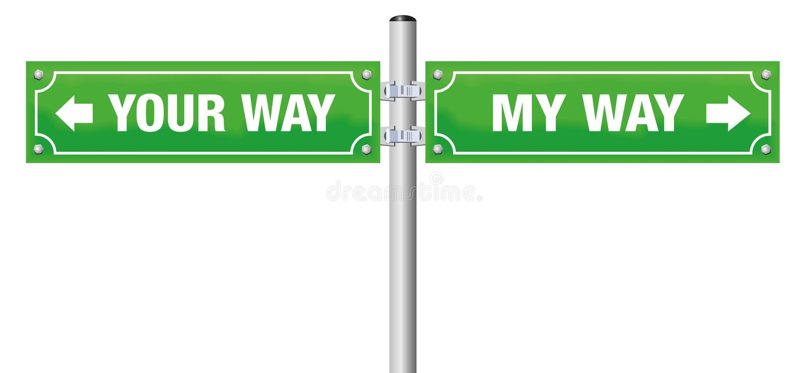 Going Separate Ways Street Sign. Going separate ways. MY WAY and YOUR WAY written on street signs - symbol for divorce, separation, for saying goodbye or royalty free illustration
