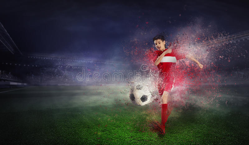 He is going to become a champ. Mixed media royalty free stock image