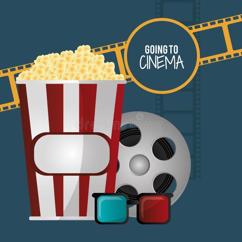 Going to cinema pop corn 3d glasses film strip stock illustration