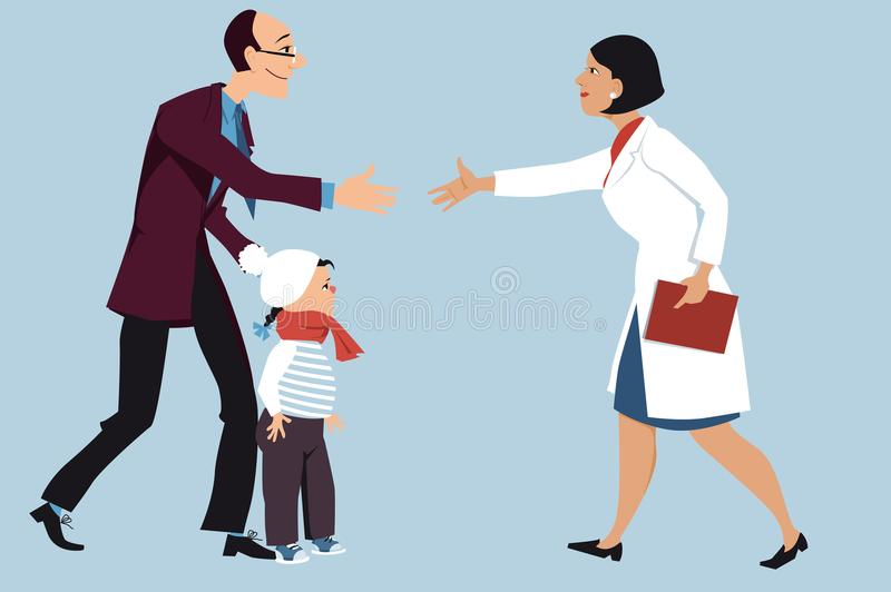 Going to a doctor with a kid stock illustration