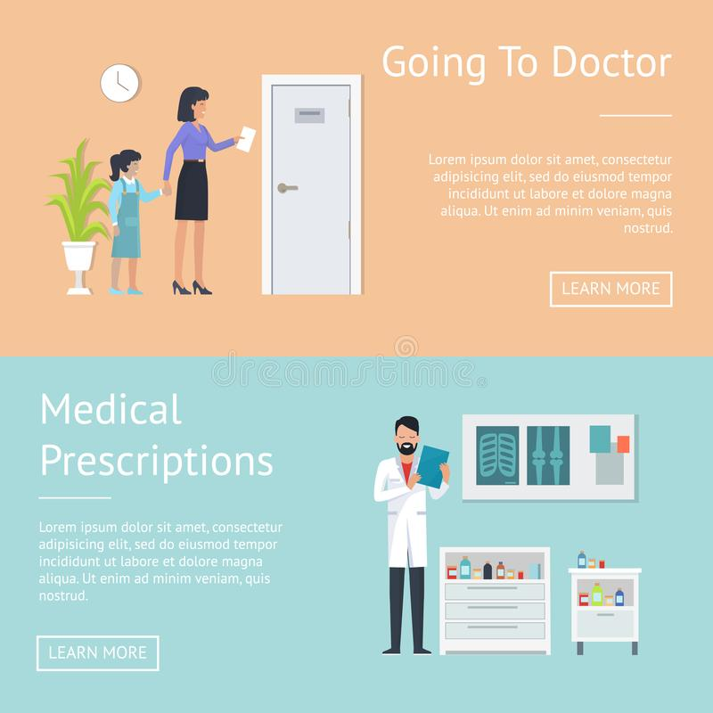 Going to Doctor Posters Set Vector Illustration stock illustration