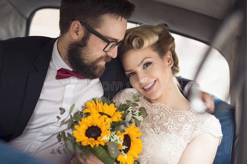 Going to a honeymoon stock photography