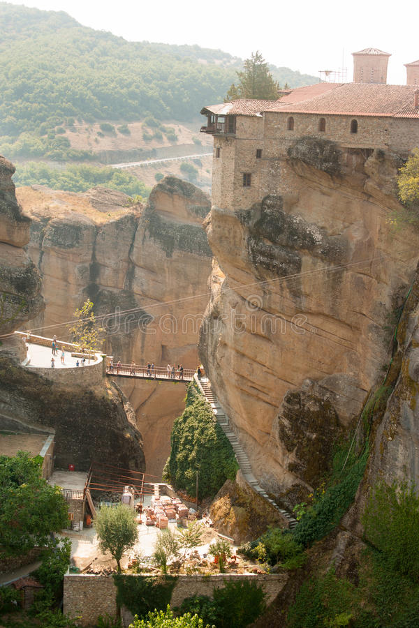 Going to the monastery of St. Barlaam Meteora stock image