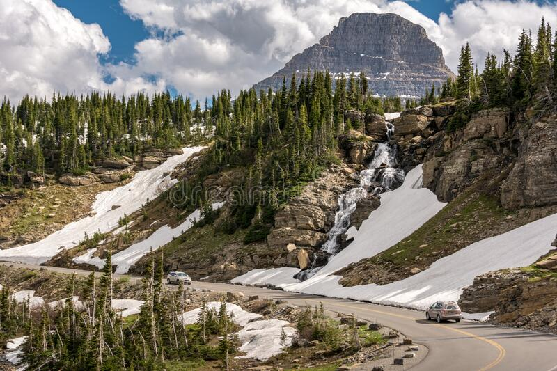 Going-to-the-Sun Road is a scenic mountain road in the Rocky Mountains of the western United States, in Glacier National Park in M. Ontana. USA stock photo