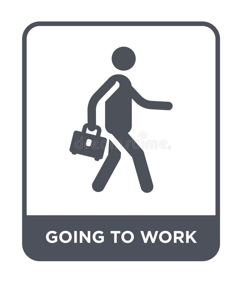 going to work icon in trendy design style. going to work icon isolated on white background. going to work vector icon simple and royalty free illustration