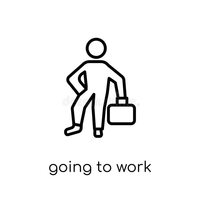 Going to work icon. Trendy modern flat linear vector Going to work icon on white background from thin line People collection. Editable outline stroke vector royalty free illustration