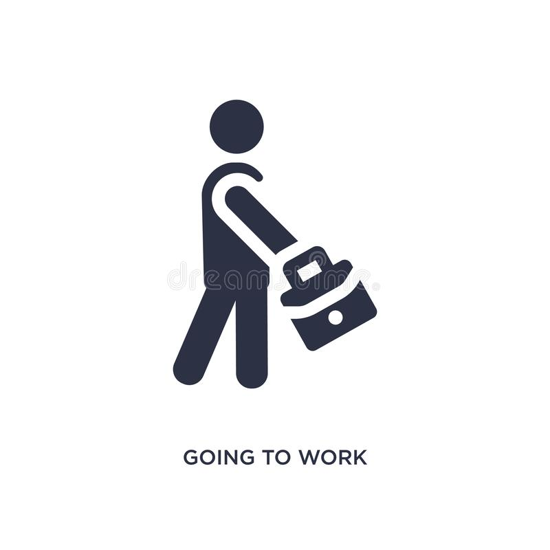 going to work icon on white background. Simple element illustration from behavior concept stock illustration