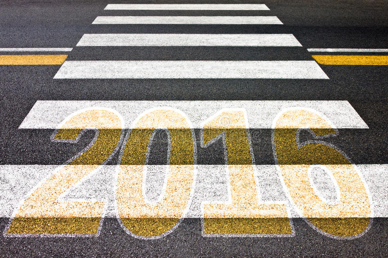 Going toward 2016 - Pedestrian crossing with 2016 written on it royalty free stock photos
