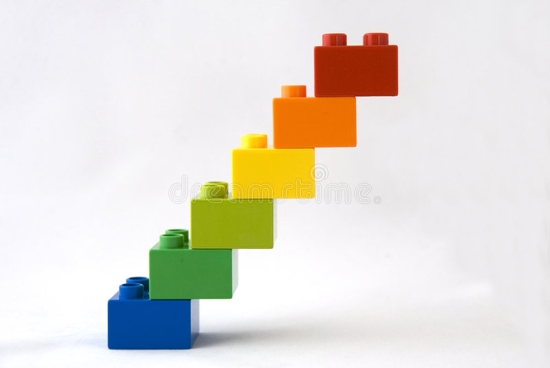 Going up. Toy block stairs leading to nowhere royalty free stock image