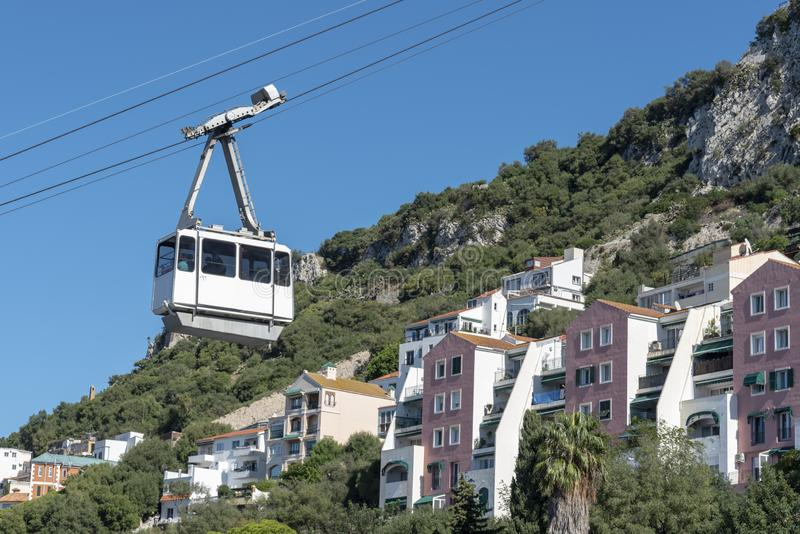 Going up in cable car at Gibraltar stock image