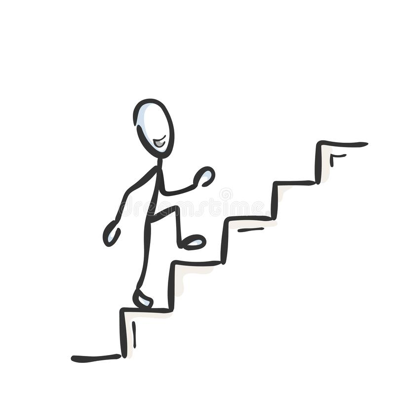 Free Going Up The Stairs. Successful Proud And Happy Man. Ascend Staircase. Hand Drawn. Stickman Cartoon. Doodle Sketch, Vector Graphic Stock Image - 173602011