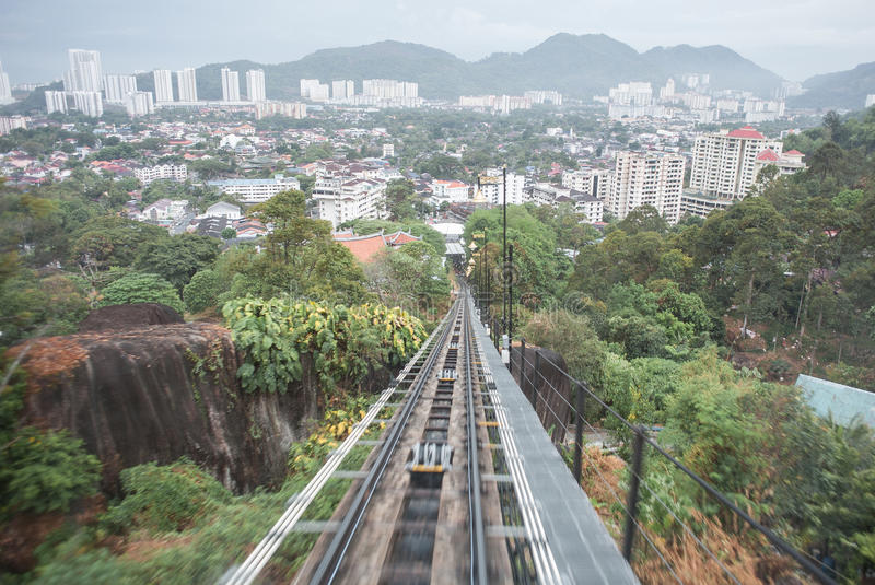 Going up to penang hill stock image