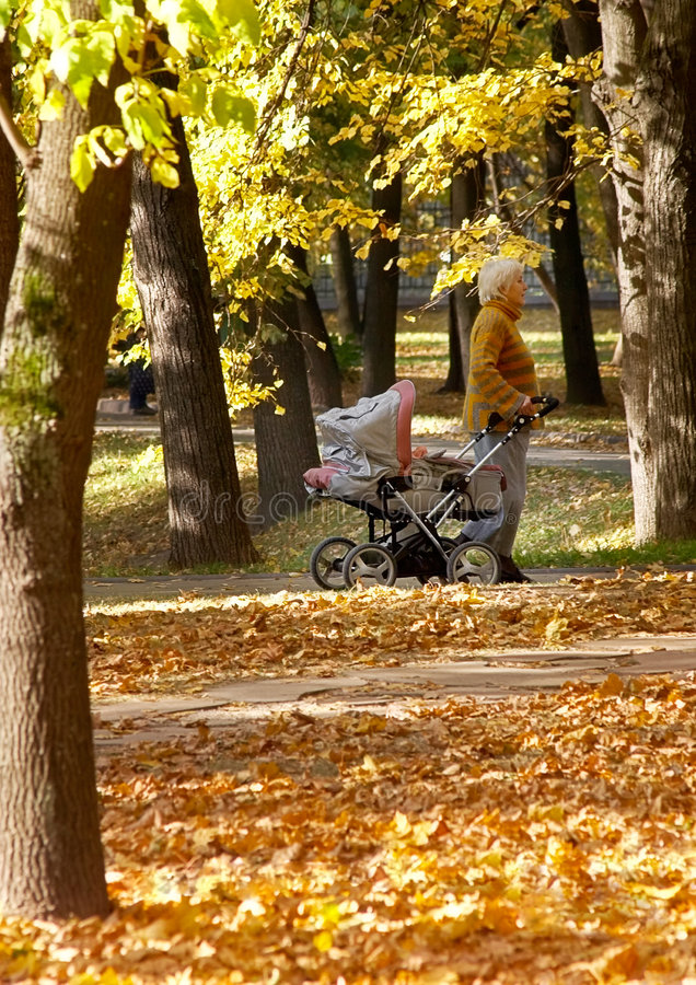 Going for a walk with baby royalty free stock photo