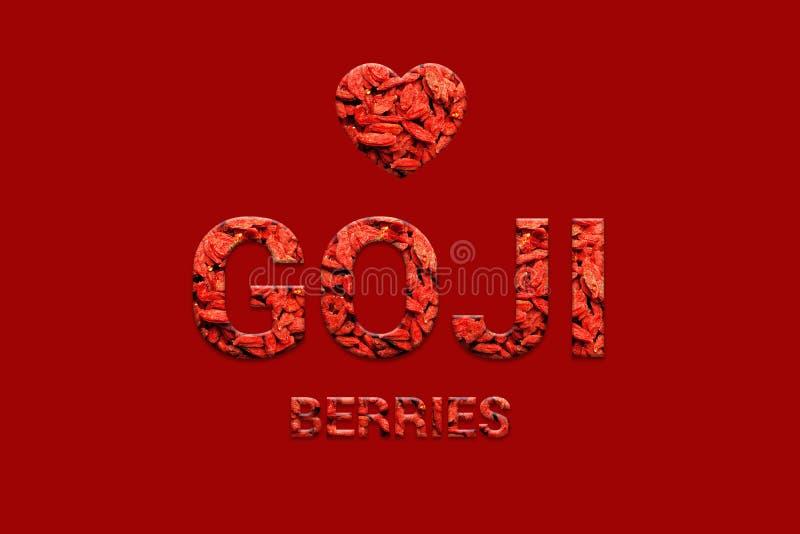 Goji bär texturerar text med hjärta på röd bakgrund Strikt vegetarian, vegetarisk toppen mat och detoxmat royaltyfri illustrationer