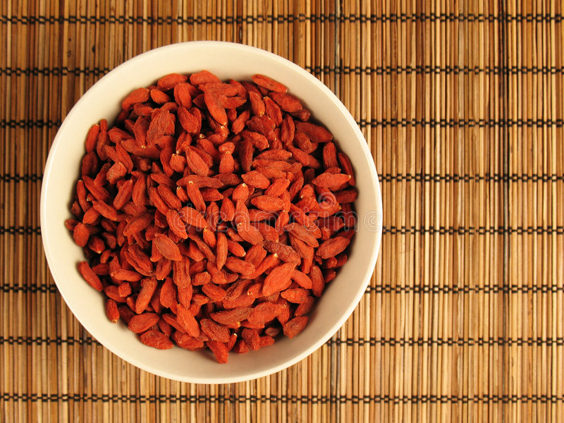 Goji Berries in a Bowl stock photos
