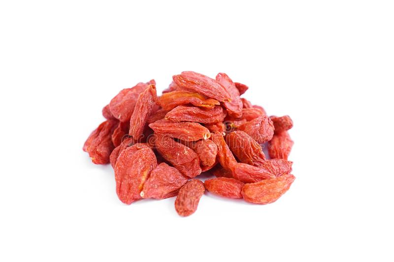 Goji berry. A heap of goji berries isolated on a white background. Goji berry is Chinese herb. royalty free stock photos