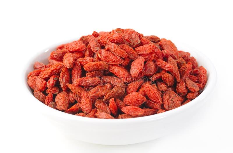 Goji berry in white bowl stock image