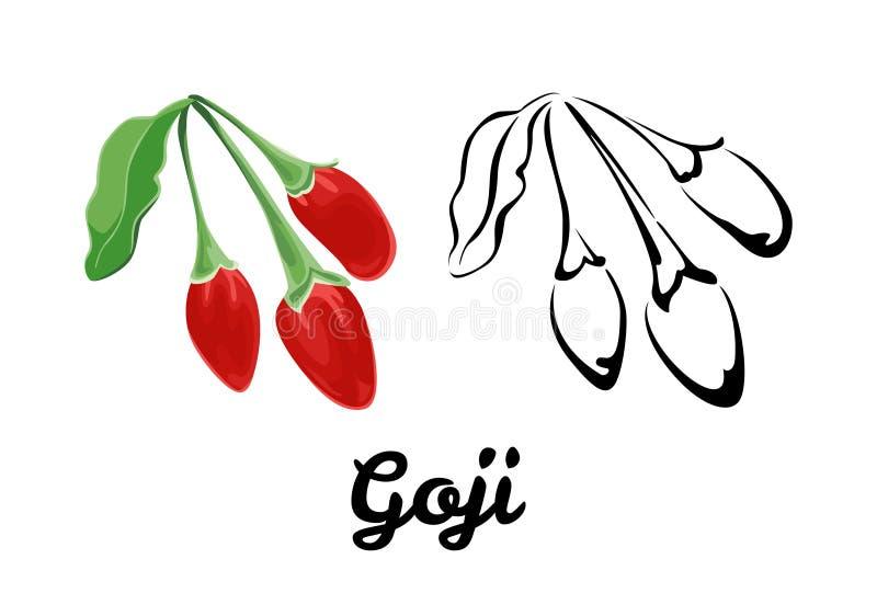 Goji-Ikone Farbillustration einer roten reifen Beere mit einem grünen Blatt und Schwarzweiss-einem Konturnbild vektor abbildung