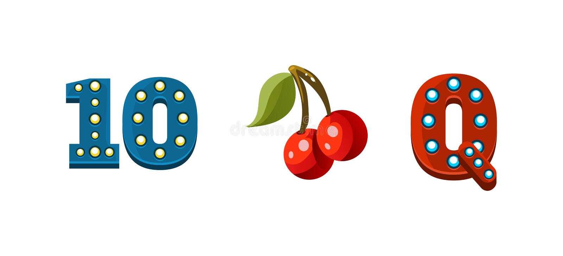 Gokautomaatsymbolen, de elementen van het spelgebruikersinterface voor computer of mobiele spelen vectorillustratie stock illustratie