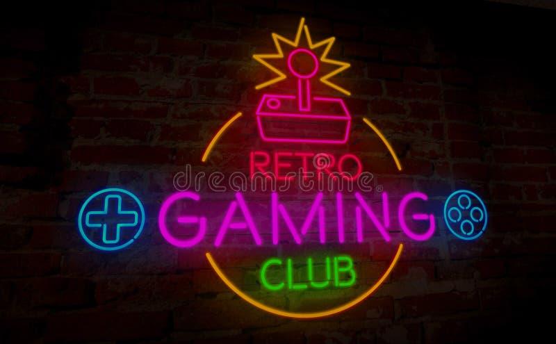 Gokken retro neon stock illustratie