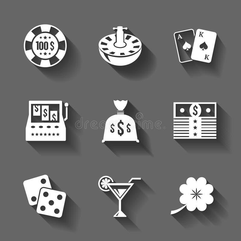 Gokkend pictogrammen geplaatst geïsoleerd, contrastschaduwen vector illustratie