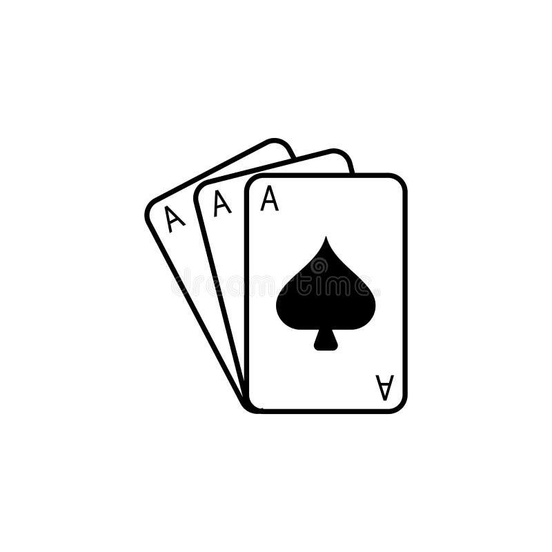 Gokkend speelkaartenpictogram Menselijke zwakheid, het pictogram van het Verslavingselement Het grafische ontwerp van de premiekw vector illustratie