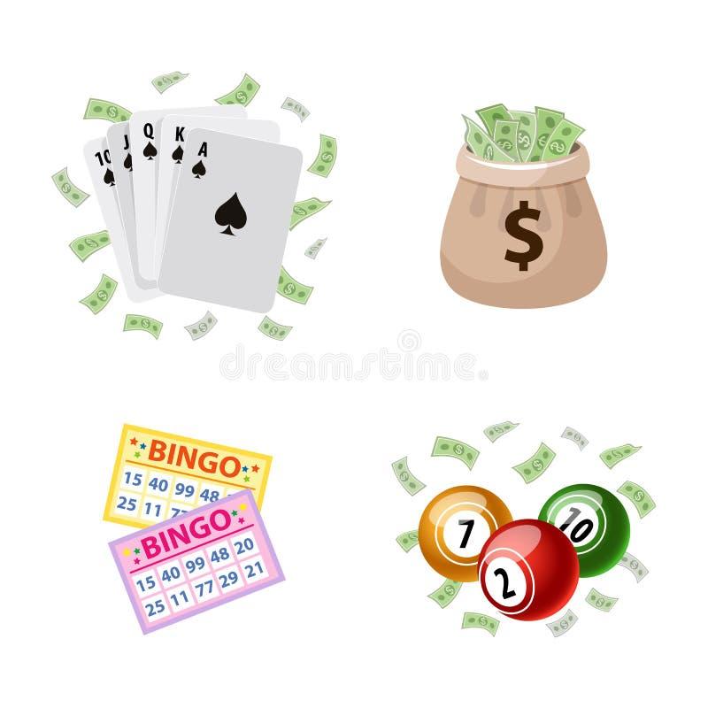 Gokkend symbolen - bingo, speelkaarten, pot stock illustratie