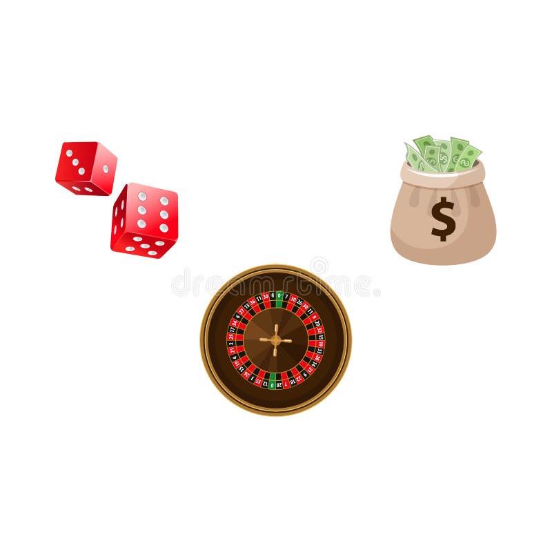 Gokkend symbolen - de roulette, dobbelen en de geldzak stock illustratie
