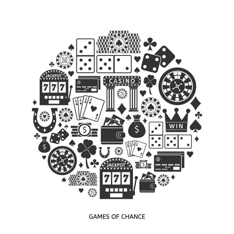 Download Gokkend Vlakke Geplaatste Pictogrammen Vector Illustratie - Illustratie bestaande uit jackpot, cash: 54084409