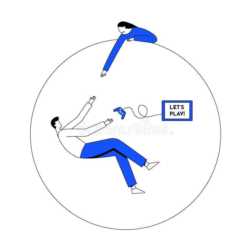 Gokkenverslaving, het concept van de gezondheidswanorde Lijn met editable slag Vector vlakke illustratie stock illustratie