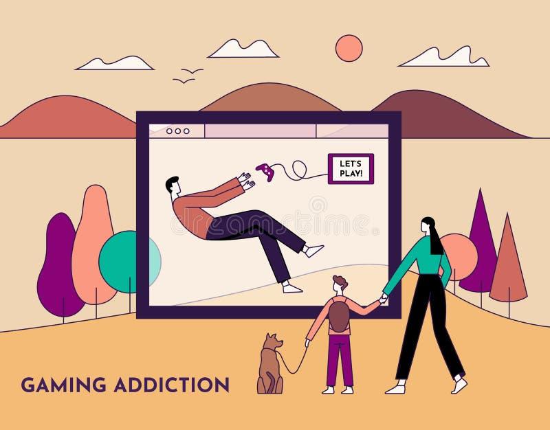 Gokkenverslaving, het concept van de gezondheidswanorde De mens speelt videospelletje en negeert zijn familie Lijn met editable s stock illustratie