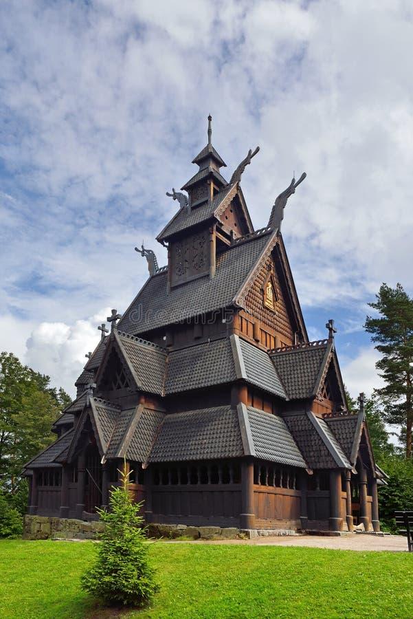 Gol Stave Church antico a Bygdoy, Oslo fotografia stock libera da diritti