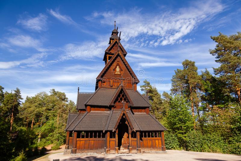 Gol Stave Church Folks museum Bygdoy peninsula Oslo Norway Scandanavia. Reconstructed wooden Gol Stave Church Gol Stavkyrkje in Norwegian Museum of Cultural stock photography