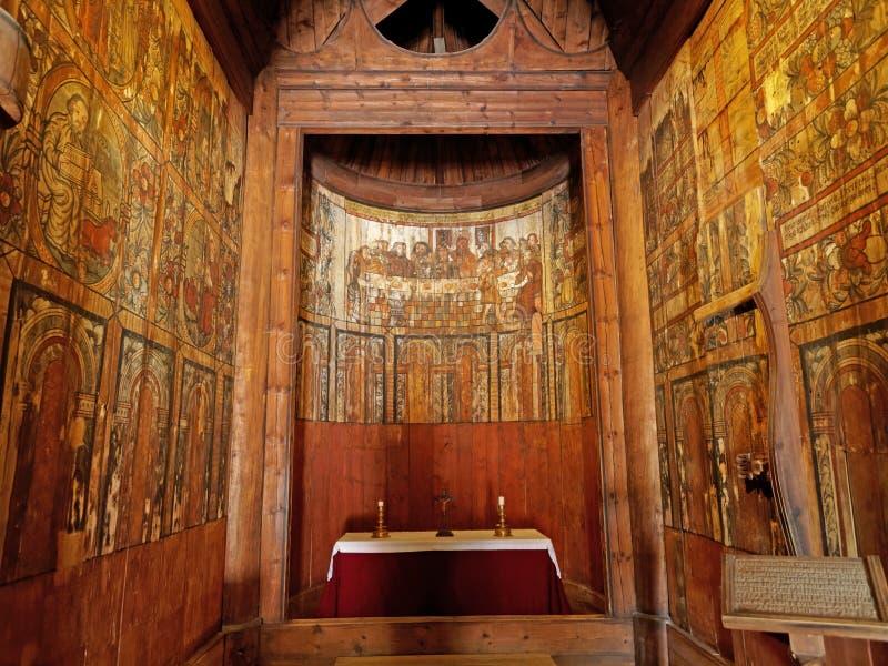 Gol Stave Church interno (stavkirke) di Gol - Oslo, Norvegia fotografia stock