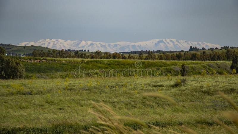 Golan Heights nature Trail - spring 2019. Views of the Golan Heights fron the Golan Trail, a pice of nature in northern israel stock photography