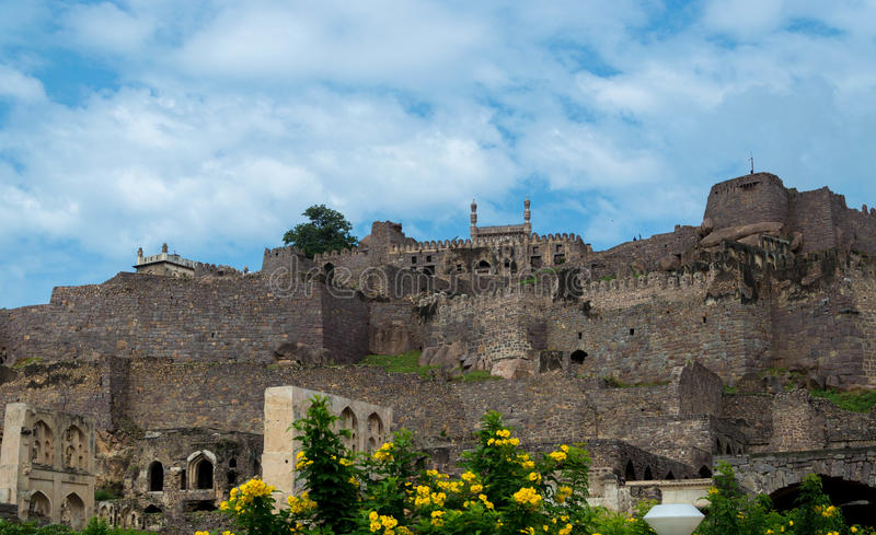 Golconda fort, Hyderabad - Indien arkivfoton