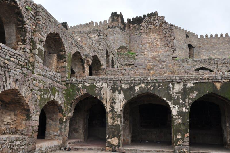 Golconda fort i Hyderabad royaltyfria foton