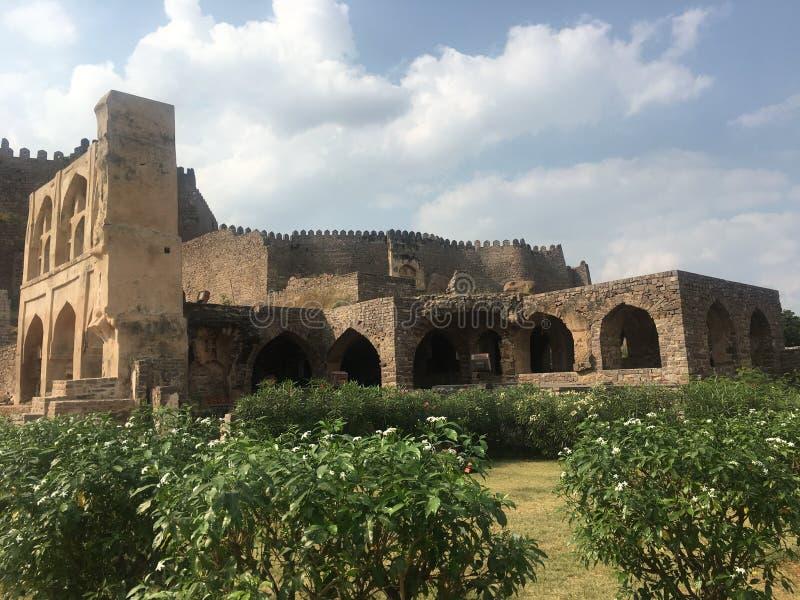 Golconda fort i Hyderabad, Indien arkivbilder