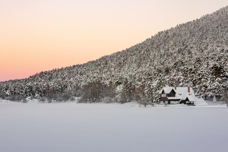 Golcuk, Bolu / Turkey, winter season landscape. Sunset view. Travel concept photo stock image