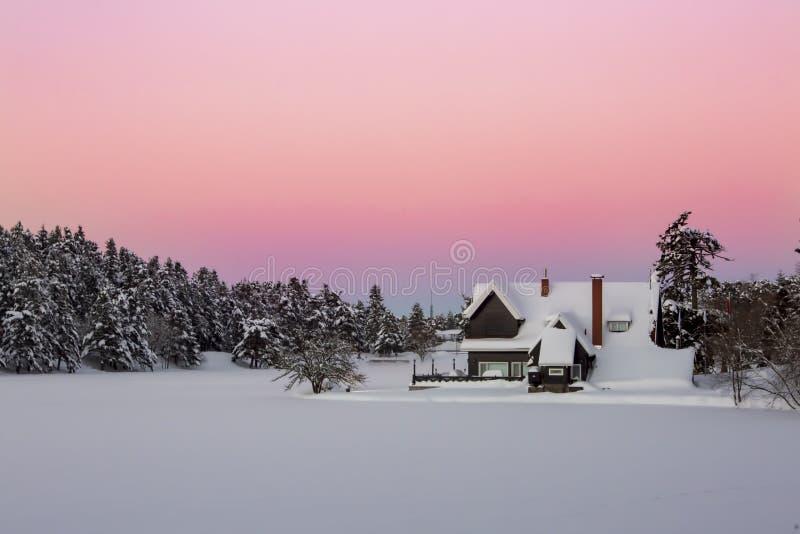 Golcuk, Bolu / Turkey, winter season landscape. Sunset view. Travel concept photo.  royalty free stock images