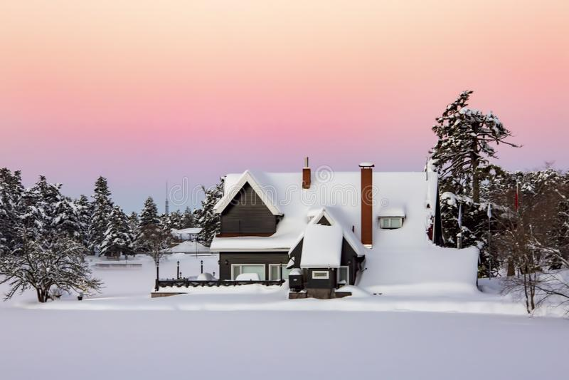 Golcuk, Bolu / Turkey, winter season landscape. Sunset view. Travel concept photo.  royalty free stock photo