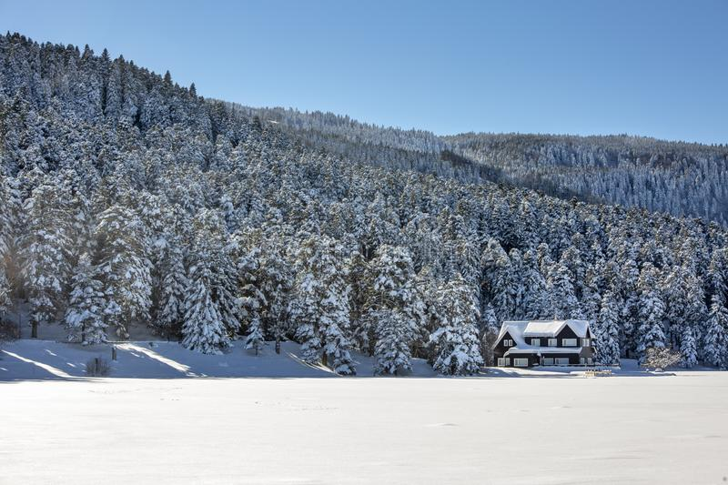 Golcuk / Bolu / Turkey, winter snow landscape. Travel concept photo stock photo